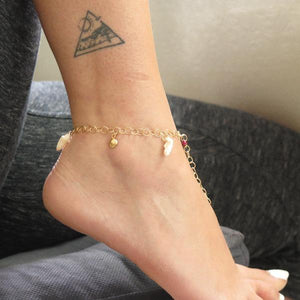 Anklet for Woman in Gold, Bracelet with Shells, Festival Jewelry
