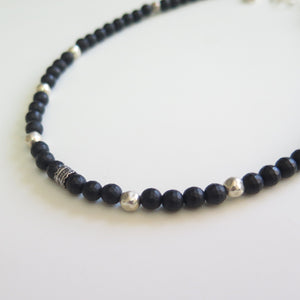 Man Black Onyx Beaded Necklace, Healing and Protection Gemstone - Viyoli Jewelry Designs