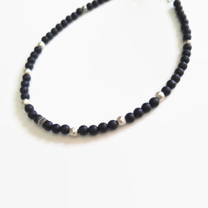 Man Black Onyx Beaded Necklace, Healing and Protection Gemstone