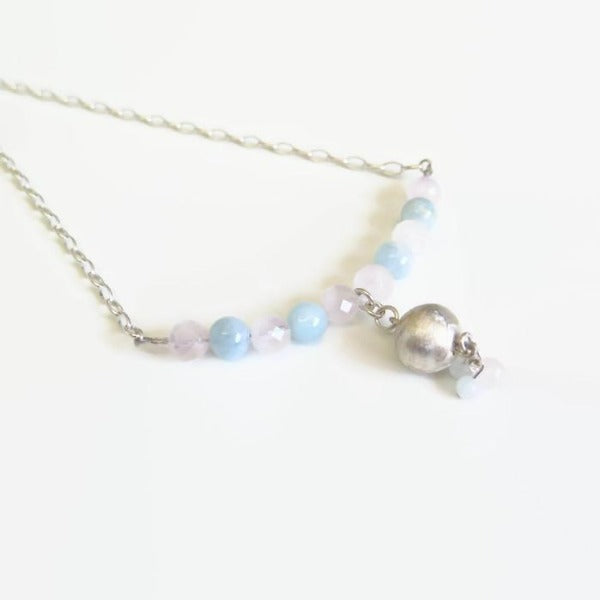 Aquamarine and Rose Quartz Necklace, Silver Gemstone Gift for Mom - Viyoli Jewelry Designs