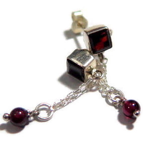 Garnet Earring, Geometric Silver Square Jewelry, Red Stud Dangle Gift - Viyoli Jewelry Designs