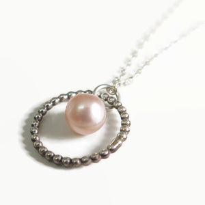 Pink Pearl Pendant, a Dainty Silver Circle Necklace, Special Gift To Mom