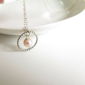 Pink Pearl Pendant, a Dainty Silver Circle Necklace, Special Gift To Mom - Viyoli Jewelry Designs