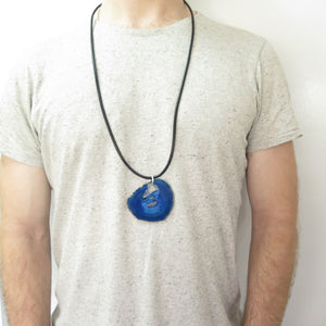 Big Blue Agate Pendant, Men's Leather Necklace, Geode Natural Jewelry