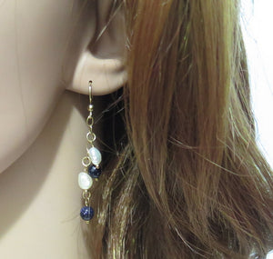Blue White Dangle Earrings, Something Blue Wedding, Anniversary Gift