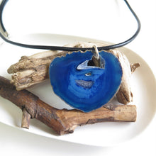 Big Blue Agate Pendant, Men's Leather Necklace, Geode Natural Jewelry - Viyoli Jewelry Designs