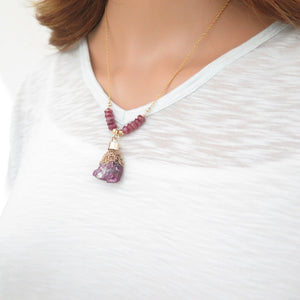 Raw Ruby in Gold Necklace, Healing Stone Pendant, Natural Red Jewelry