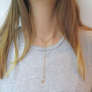 Lariat Infinity Necklace, Everyday Circle and Pearl, Long Gold Gift - Viyoli Jewelry Designs