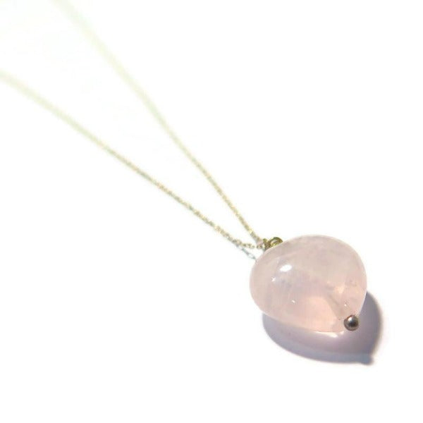 Rose Quartz Heart Necklace, Love Gem Gift, For Mom in Jewelry