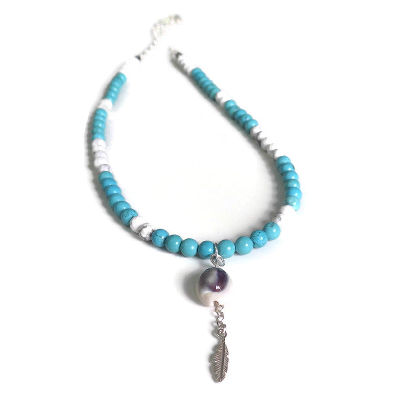 Gemstone Long Necklace, Howlite Turquoise Jewelry, Bohemian Chic Style