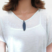 Dainty Blue Agate and Anchor Pendant, Natural Slice Gemstone Necklace