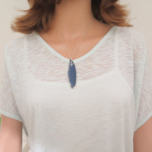 Dainty Blue Agate and Anchor Pendant, Natural Slice Gemstone Necklace - Viyoli Jewelry Designs