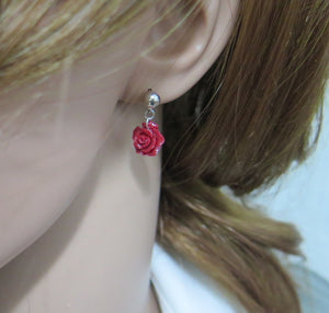 Coral Stud Earrings, Carved Flower, Silver Red Dainty Jewelry, Minimal - Viyoli Jewelry Designs