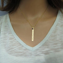 Vertical Gold Bar Necklace, Engraved Name Plate, Personalized Layered - Viyoli Jewelry Designs
