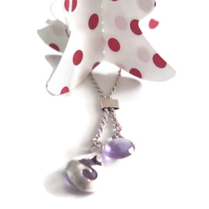 Teardrop necklace, 925 Silver Sterling and Amethyst, Charm Pendant