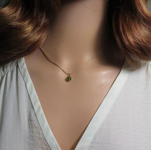 Tiny Peridot Necklace, Dainty Birthstone Pendant, Minimalist Gold