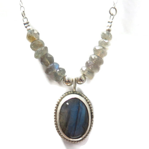 Labradorite Bezel Necklace With a Touch Of Blue, Gemstone Silver Gift