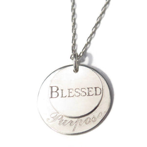Custom Engraved 2 Disc Necklace, Silver Pendant, Meaningful Gift - Viyoli Jewelry Designs