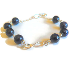 Silver Infinity Bracelet with Blue Goldstone Gemstone, Friendship Gift - Viyoli Jewelry Designs