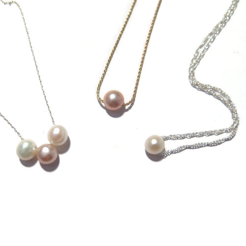 Minimalist Dainty Pearl Necklace, Wedding Single Pearl Jewelry Piece - Viyoli Jewelry Designs