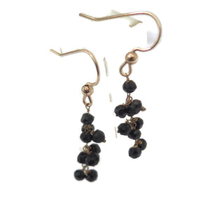 Black Onyx Dangle Earrings, Gold and Gemstone, Dainty Minimalist gift - Viyoli Jewelry Designs