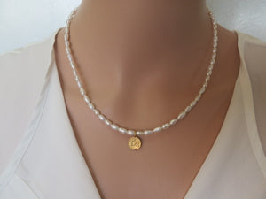 Pearl Dainty Beaded Necklace, Protection Pendant, Classic Jewelry - Viyoli Jewelry Designs
