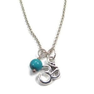 Spiritual Pendant Ohm in Silver Necklace with Turquoise for Luck