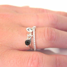 2 Ring Set, Stamp Initial in Silver, Stacking Beaded and Gemstone - Viyoli Jewelry Designs