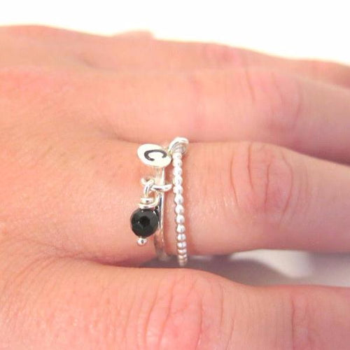 2 Ring Set, Engrave Ring, Initial Silver Ring, Stacking Gemstone Set - Viyoli Jewelry Designs