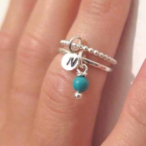 Silver Bead Ring, Knuckle Set, Stacking Initial Ring, Silver Midi Ring - Viyoli Jewelry Designs