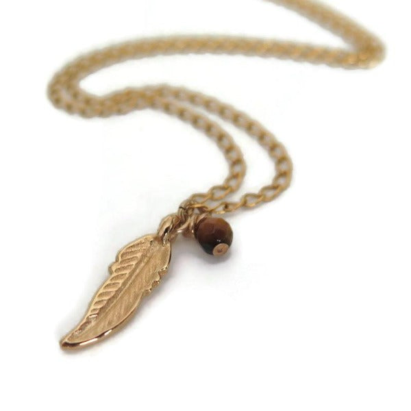 Gift for Boyfriend, Feather Pendant Necklace, Gold Charm Jewelry