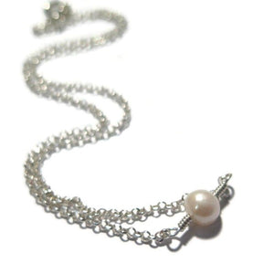 Delicate Sterling Silver Gift, One Pearl Pendant, Freshwater Choker
