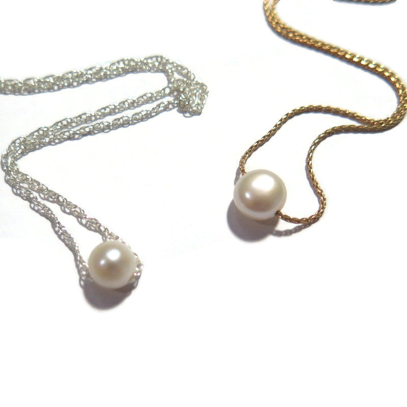 Minimalist Dainty Pearl Necklace, Wedding Single Pearl Jewelry Piece
