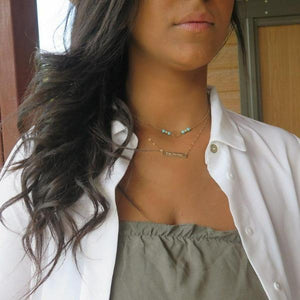 Dainty Turquoise Circle Necklace, Layering in Gold, Minimalist Choker - Viyoli Jewelry Designs