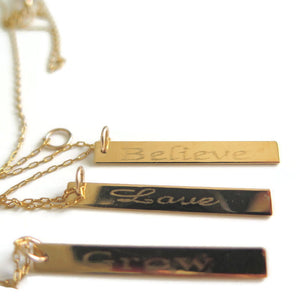 Inspirational Word Necklace, Vertical Bar Pendant in gold or Silver