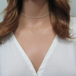Gold or Silver Choker, Satellite Chain Necklace, Simple Layering Gift - Viyoli Jewelry Designs