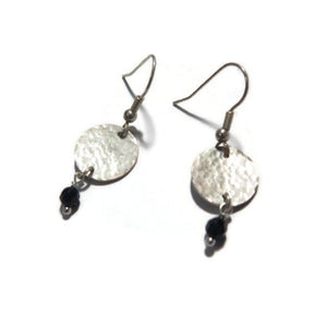 Onyx Hammered Dainty Earrings, Sterling Silver Dangle Circle Jewelry