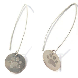 Silver Modern Earrings, Engraved Paw, Long Disc Dangle Jewelry