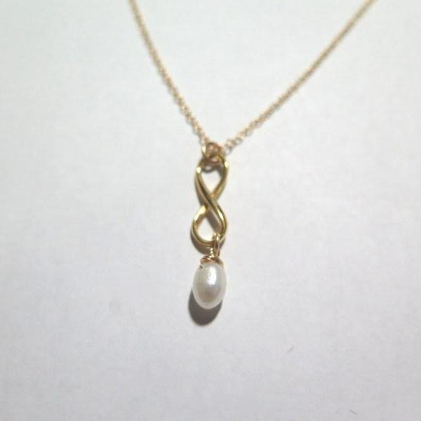 Infinity and Pearl Pendant, Gold Minimalist Necklace, Wedding Gift