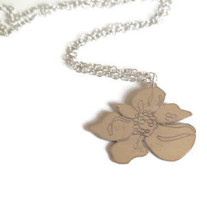 A Flower for Mom, Custom Engraved Sterling Silver Pendant Necklace