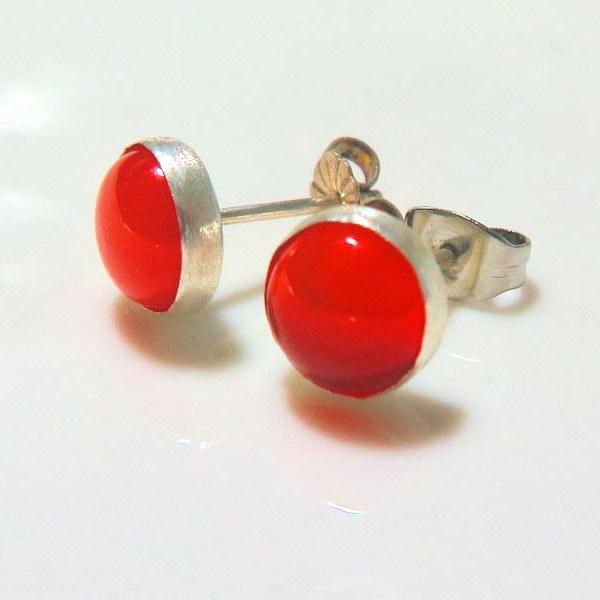 Orange Silver Stud Earring, Carnelian Jewelry, Gift for Women - Viyoli Jewelry Designs