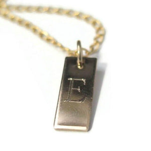 Custom Initial Gold Necklace, Engraved Vertical Bar For Men
