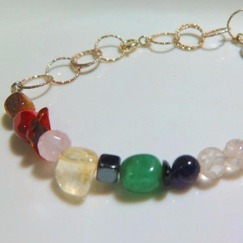 Colorful Angel Stone Bracelet with Chunky Gemstones, Healing Jewelry - Viyoli Jewelry Designs