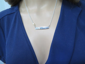 Anniversary Meaningful Jewelry, Silver Bar Necklace, Name Pendant Gift - Viyoli Jewelry Designs