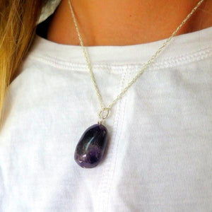 Amethyst Necklace, Pendulum, Crystal Necklace, Purple Silver Pendant - Viyoli Jewelry Designs