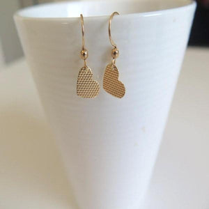 Gold Heart Earring, Tiny Dangles Everyday Jewelry, Textured Minimalist - Viyoli Jewelry Designs