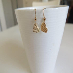 Gold Heart Earring, Tiny Dangles Everyday Jewelry, Textured Minimalist