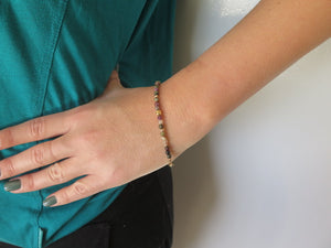 Gold Gemstone Bracelet Women, Dainty Tourmaline Jewelry Mom gift Idea - Viyoli Jewelry Designs