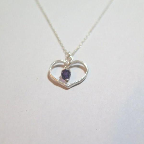 Dainty Silver Necklace, Heart Charm Pendant, Birthstone Gift for her - Viyoli Jewelry Designs