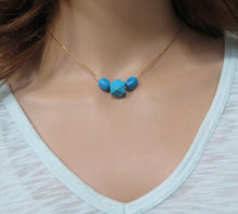 Blue Gold Layering, Everyday Minimalist Necklace, Real Turquoise Jewelry - Viyoli Jewelry Designs